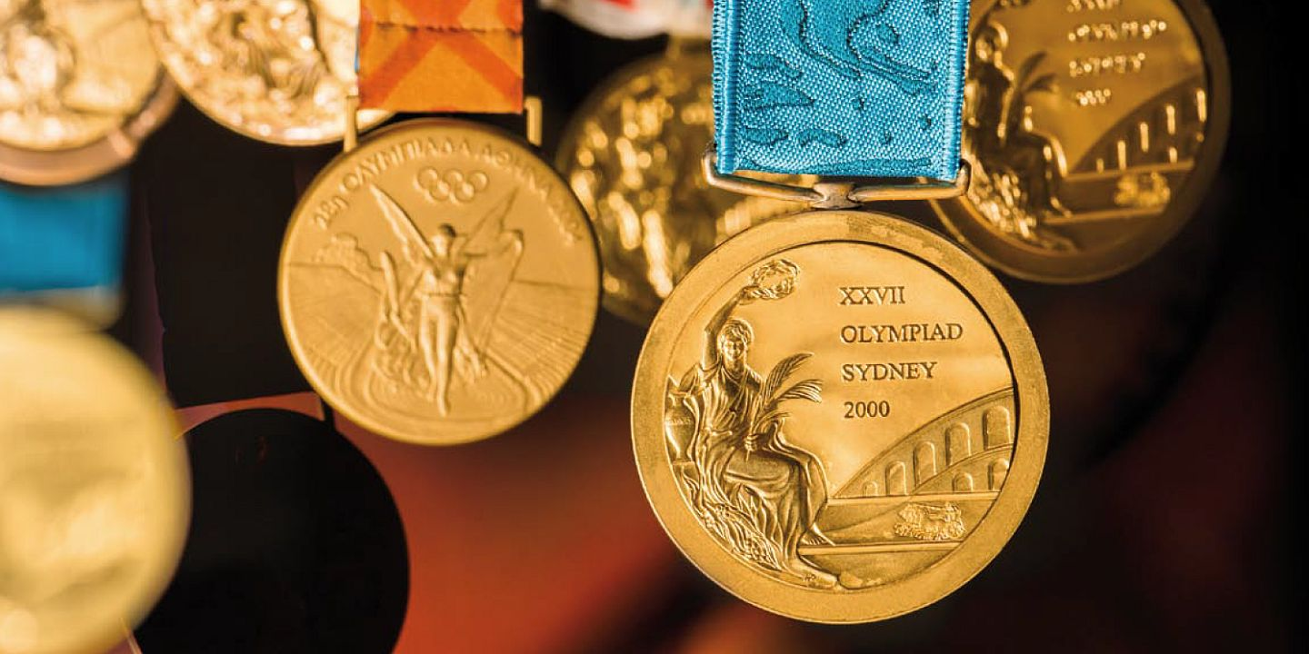 A collection of the Olympic medals in the Museum of Sports and Tourism in Warsaw